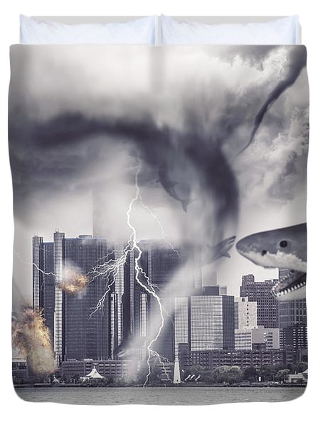 Duvet Cover featuring the photograph Sharknado Detroit by Nicholas  Grunas