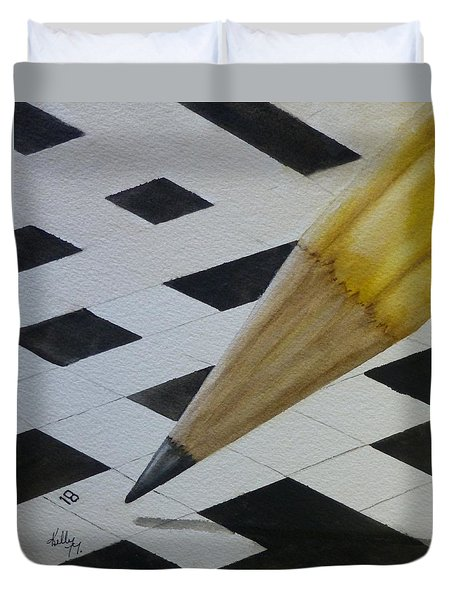 Duvet Cover featuring the painting Sharpen Your Pencil For This Puzzle by Kelly Mills