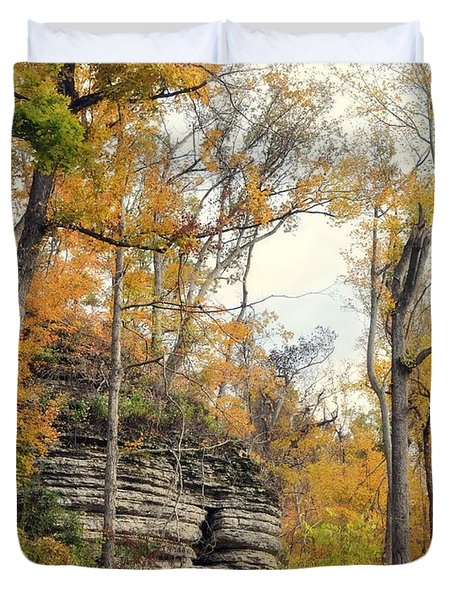 Duvet Cover featuring the photograph Shawee Bluff In Fall by Marty Koch
