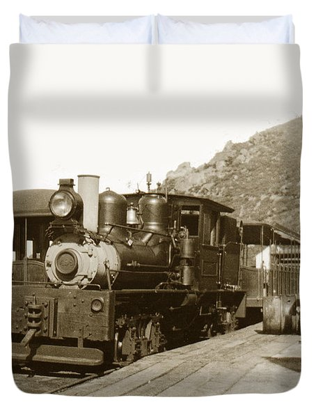 Duvet Cover featuring the photograph Shay No. 498 At The Summit Of Mt. Tamalpais Marin Co California Circa 1902 by California Views Mr Pat Hathaway Archives