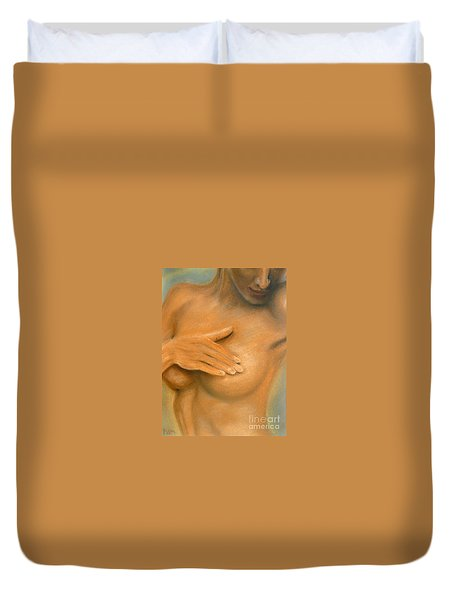 Duvet Cover featuring the painting She by Jasna Dragun