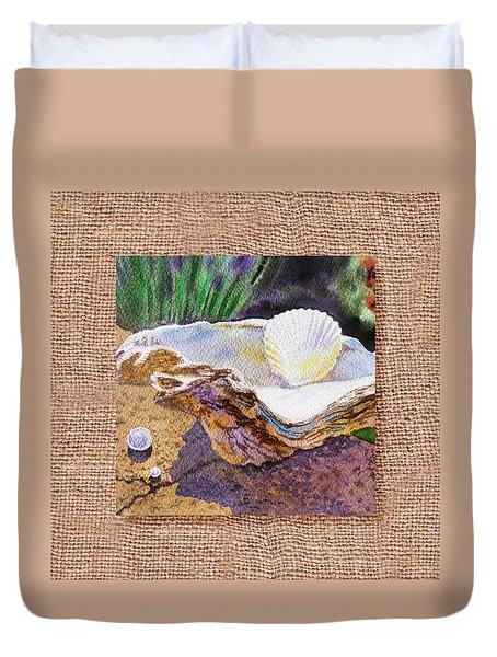She Sells Sea Shells Decorative Design Duvet Cover by Irina Sztukowski