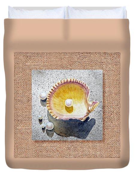 She Sells Seashells Decorative Collage Duvet Cover by Irina Sztukowski