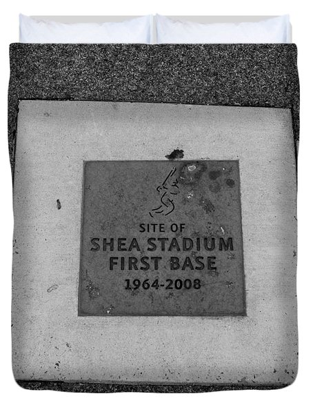 Shea Stadium First Base In Black And White Duvet Cover by Rob Hans