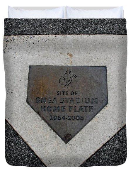Shea Stadium Home Plate Duvet Cover by Rob Hans