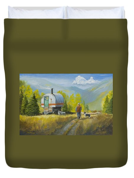 Sheep Camp Duvet Cover by Jerry McElroy