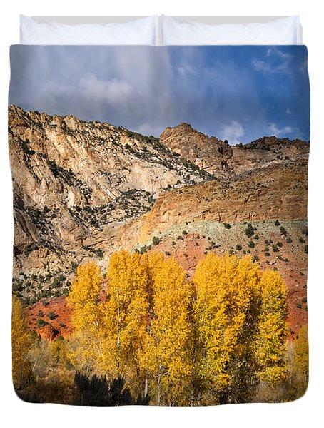 Sheep Canyon In Autumn Duvet Cover