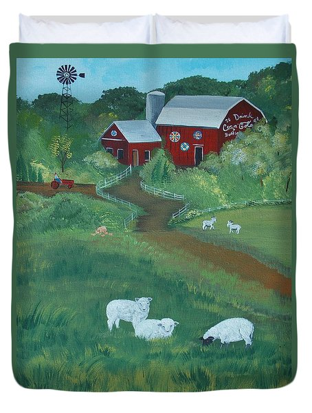 Duvet Cover featuring the painting Sheeps In The Meadow by Virginia Coyle