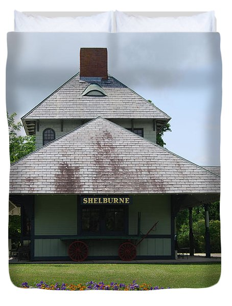 Duvet Cover featuring the photograph Shelburne Depot by Caroline Stella