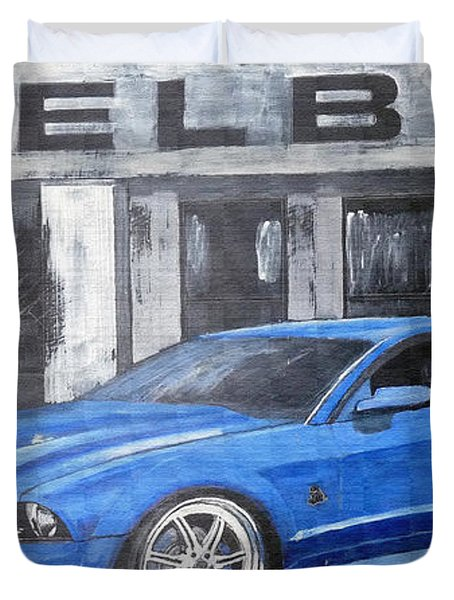 Duvet Cover featuring the painting Shelby Mustang by Richard Le Page