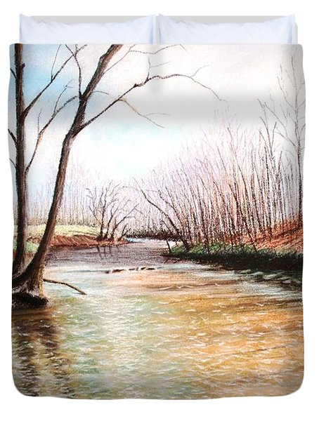 Duvet Cover featuring the pastel Shelby Stream by Stacy C Bottoms