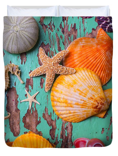 Shells On Old Green Board Duvet Cover