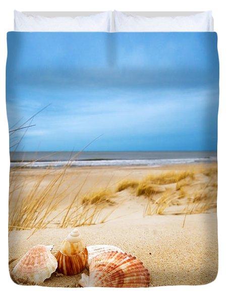 Shells On Sand Duvet Cover by Michal Bednarek