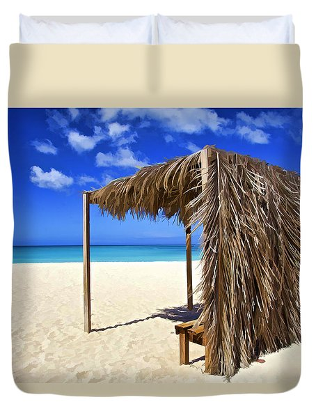 Shelter On A White Sandy Caribbean Beach With A Blue Sky And White Clouds Duvet Cover