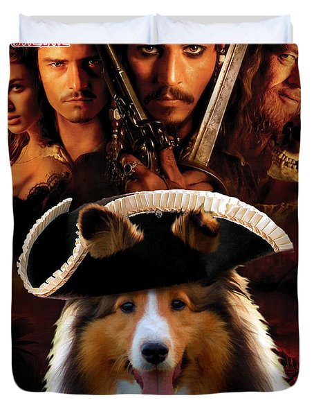 Sheltie - Shetland Sheepdog Art Canvas Print - Pirates Of The Caribbean The Curse Of The Black Pearl Duvet Cover