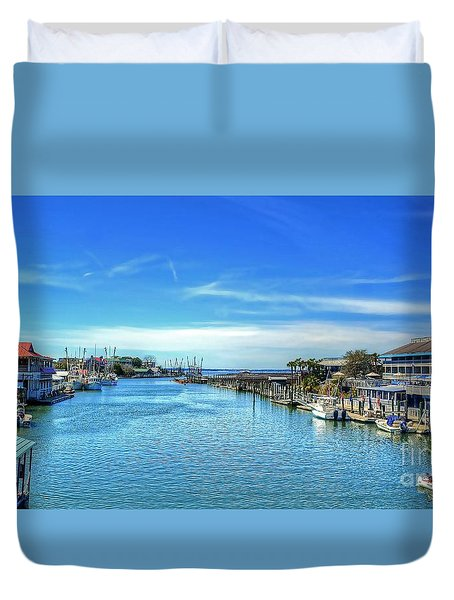 Duvet Cover featuring the photograph Shem Creek by Kathy Baccari