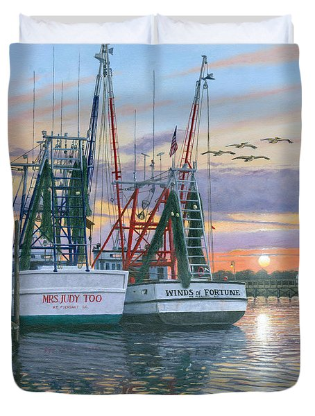 Shem Creek Shrimpers Charleston  Duvet Cover