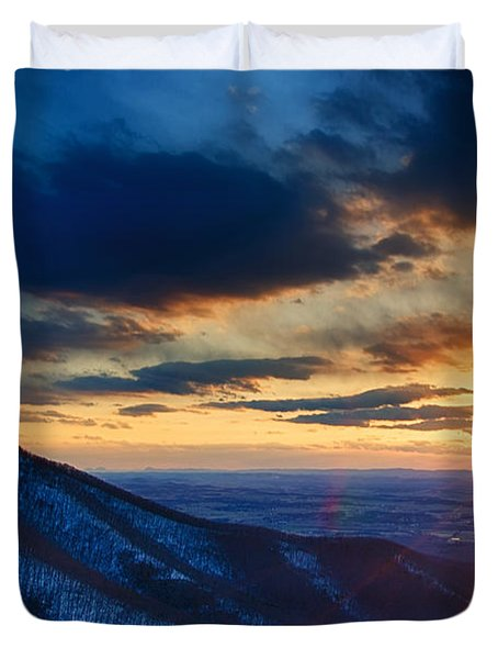 Shenandoah Sunset Duvet Cover by Joan Carroll