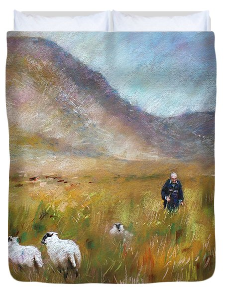 Duvet Cover featuring the drawing Shepherd And Sheep In The Valley  by Viola El