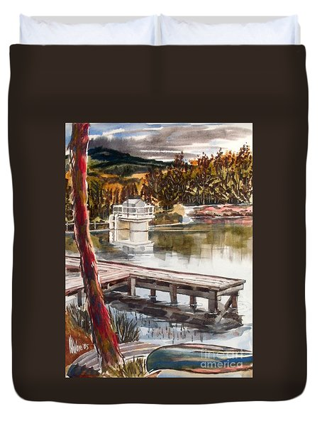Shepherd Mountain Lake In Twilight Duvet Cover by Kip DeVore