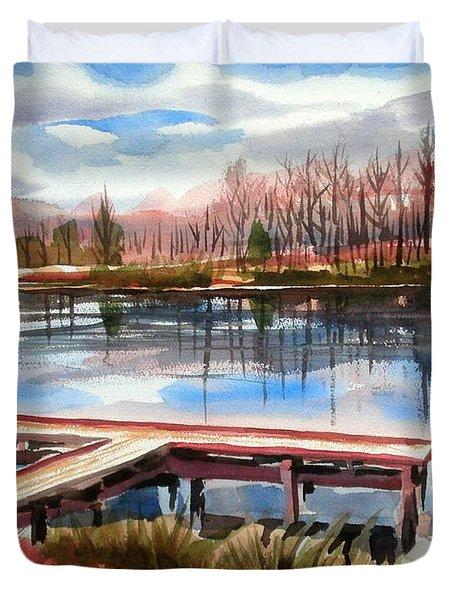 Shepherd Mountain Lake In Winter Duvet Cover