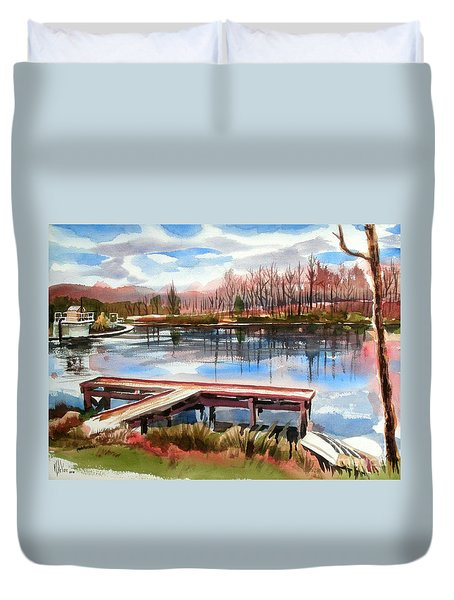 Shepherd Mountain Lake In Winter Duvet Cover
