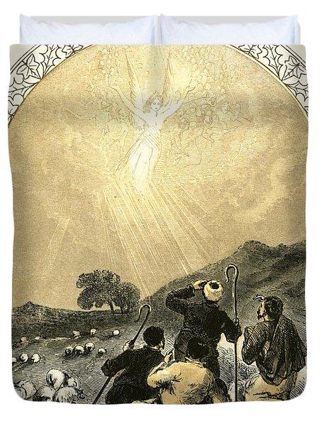 Shepherds And Angel Duvet Cover by Miles Birkett Foster