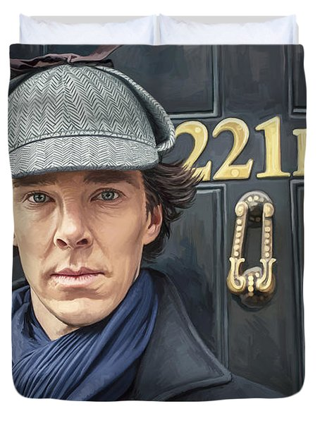 Duvet Cover featuring the painting Sherlock Holmes Artwork by Sheraz A