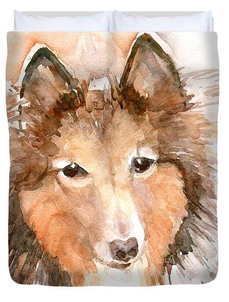 Shetland Sheepdog Duvet Cover by Claudia Hafner