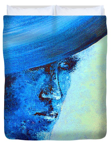 Shi Di Has The Blues Poster Duvet Cover by Alys Caviness-Gober