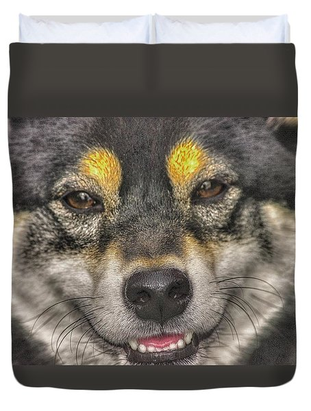 Duvet Cover featuring the photograph Shiba Inu by Dennis Baswell
