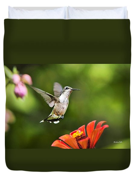 Duvet Cover featuring the photograph Shimmering Breeze Hummingbird by Christina Rollo