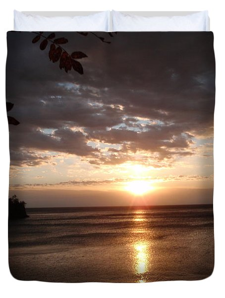 Duvet Cover featuring the photograph Shimmering Sunrise by James Peterson