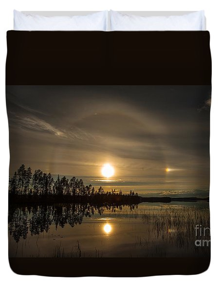 Duvet Cover featuring the photograph shine like a Halo by Rose-Maries Pictures