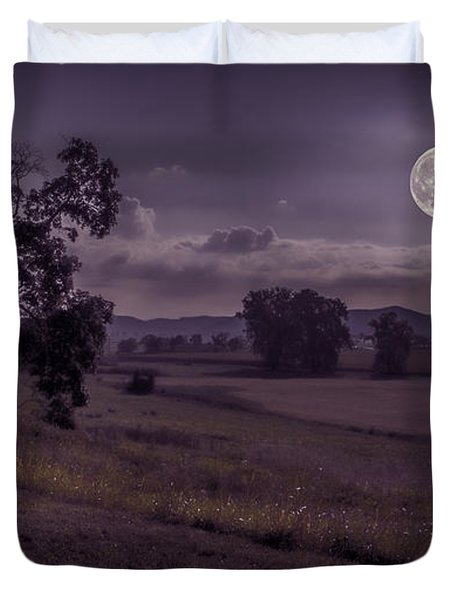 Duvet Cover featuring the photograph Shine On Harvest Moon by Jaki Miller