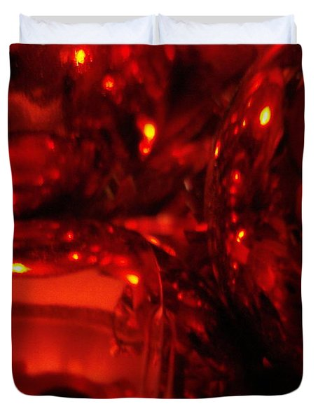 Shiney Red Ornaments One Duvet Cover