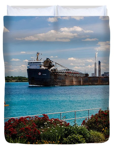 Ship And Kayaks Duvet Cover
