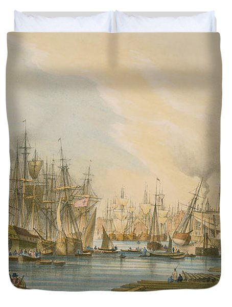 Ship Building At Limehouse Duvet Cover by William Parrot