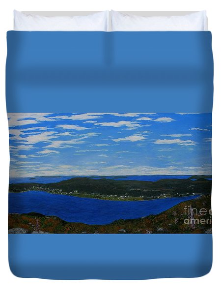 Ship Harbour From Sugarloaf Hill Duvet Cover by Barbara Griffin