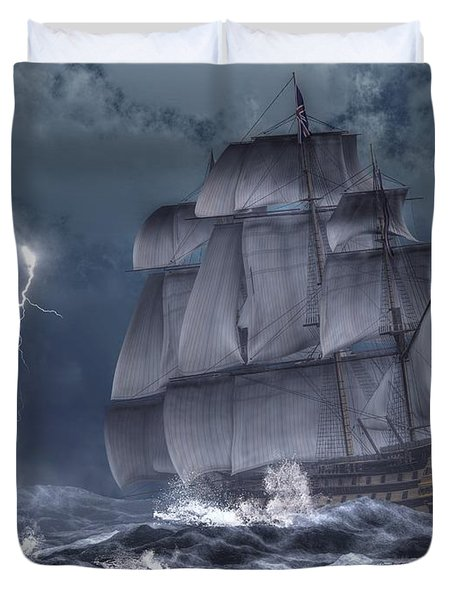 Ship In A Storm Duvet Cover