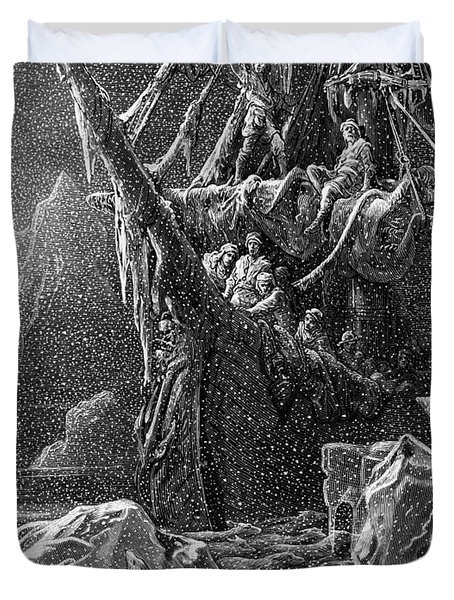 Ship In Antartica Duvet Cover by Gustave Dore