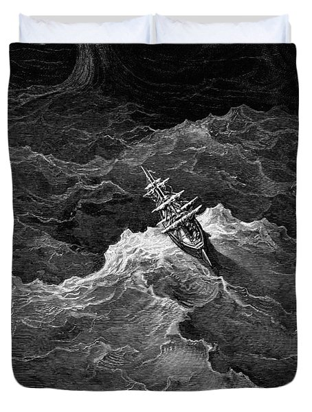 Ship In Stormy Sea Duvet Cover by Gustave Dore