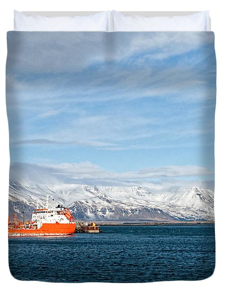 Ship In The Old Harbor II Duvet Cover