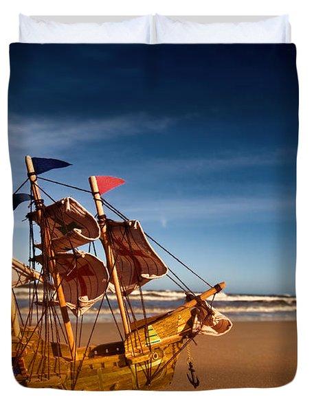 Ship Model On Summer Sunny Beach Duvet Cover by Michal Bednarek