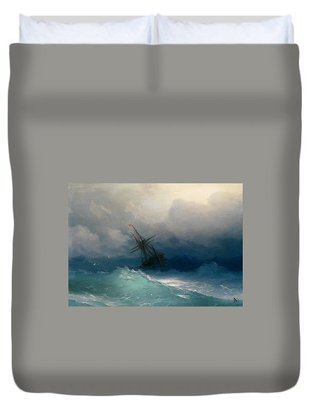 Ship On Stormy Seas Duvet Cover