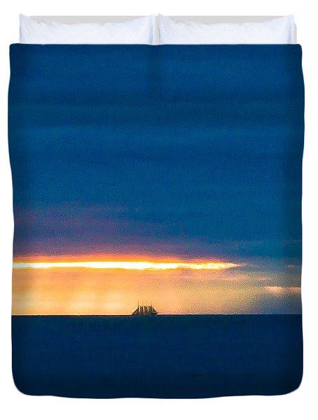 Ship On The Horizon Duvet Cover