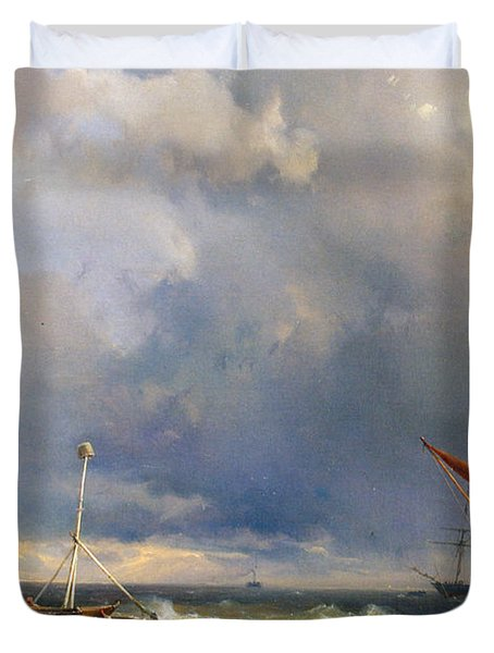 Shipping In A Stiff Breeze Duvet Cover by Hermanus Koekkoek