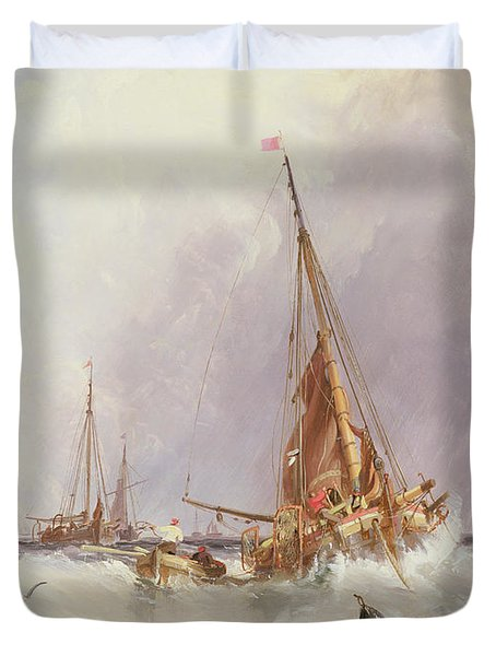 Shipping In The Solent 19th Century Duvet Cover by George the Elder Chambers
