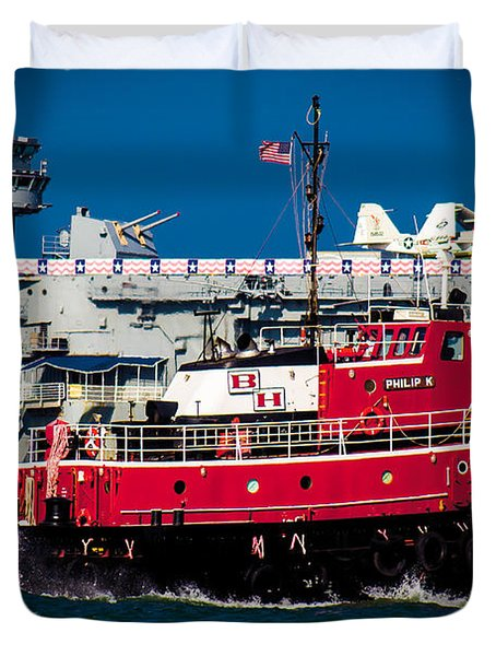 Duvet Cover featuring the photograph Shipping Lane Hero by Bartz Johnson