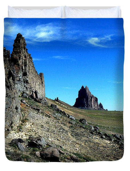 Duvet Cover featuring the photograph Shiprock by Alan Socolik